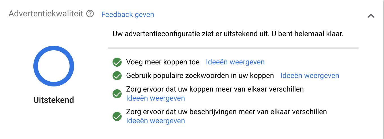 Advertentiekwaliteit van een Responsive Search Ad