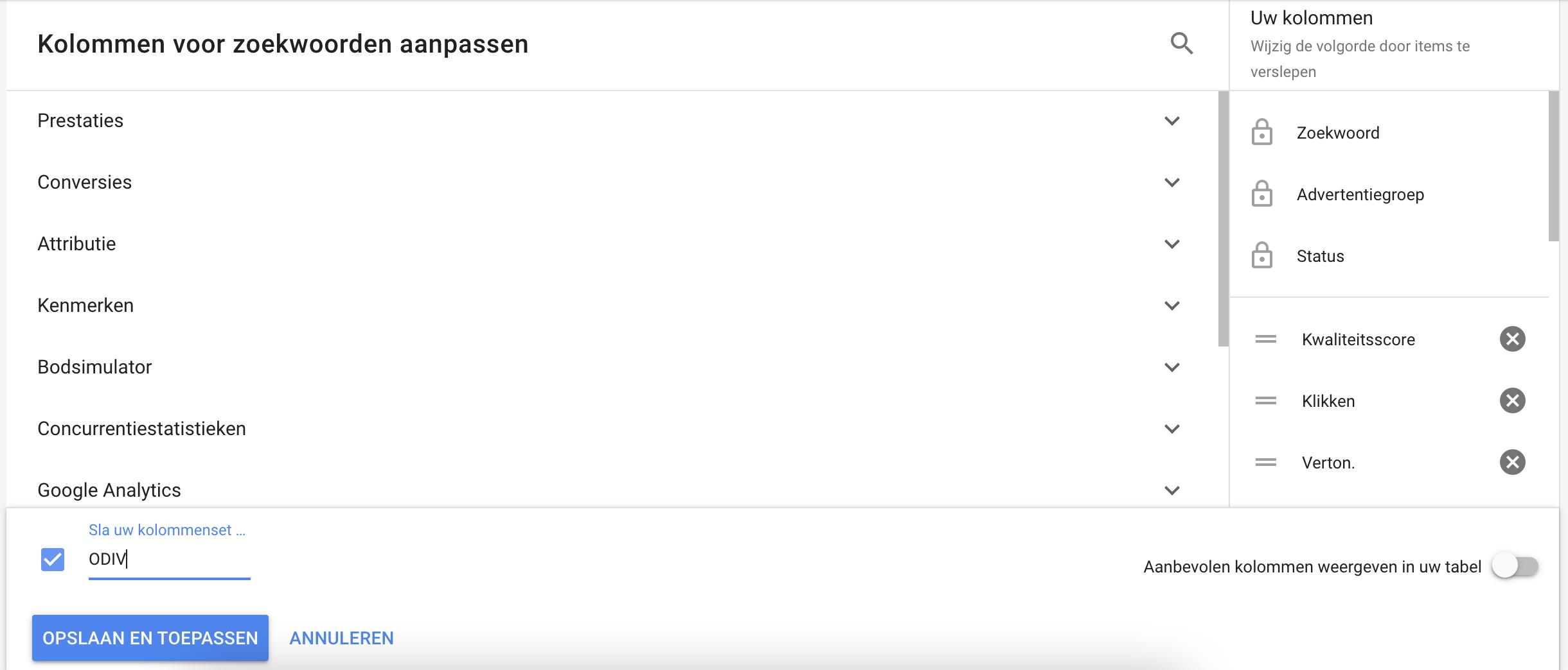 Kolommen aanpassen in Google Ads