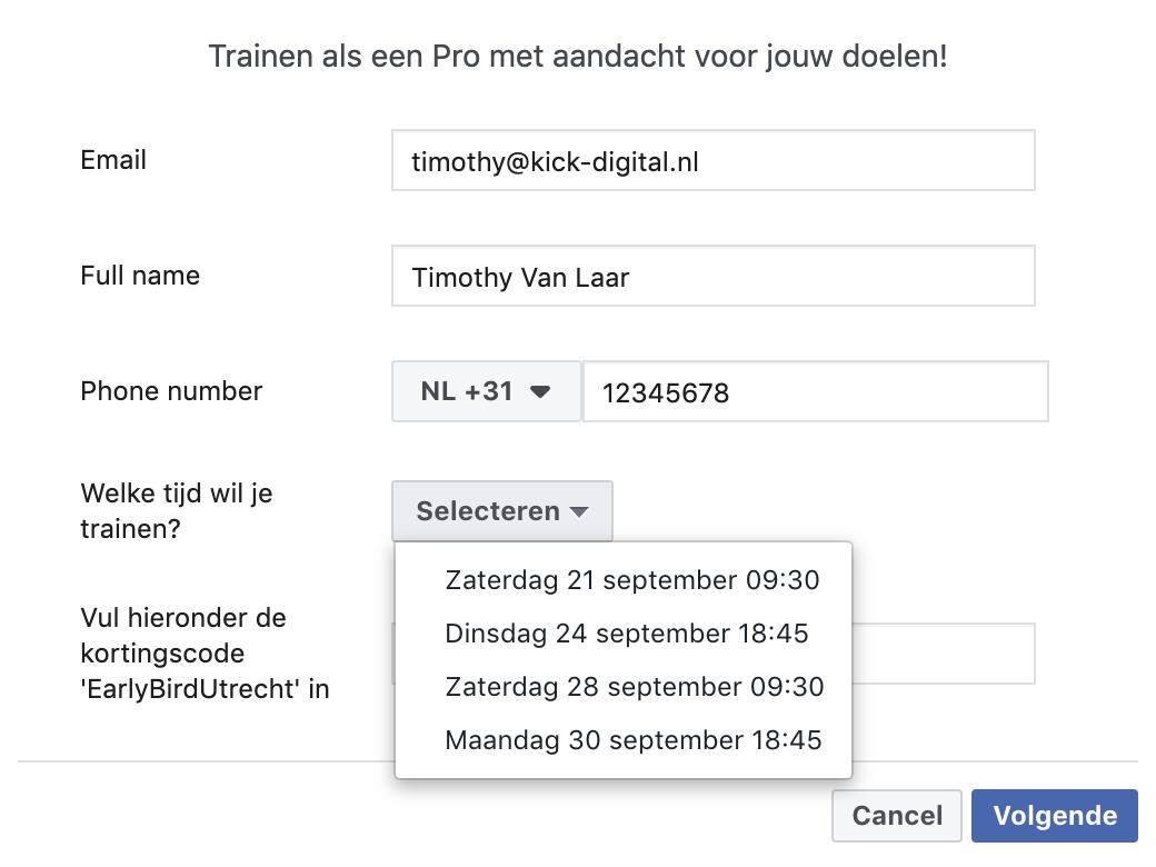 Lead Ads Formulier