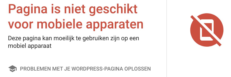 Niet-mobielvriendelijke website uit de Google mobielvriendelijke test