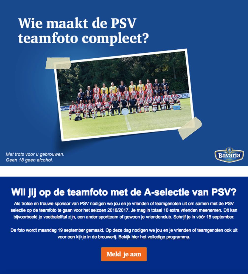 voorbeeld van overtuigingsprincipe 7: eenheid Bavaria en PSV