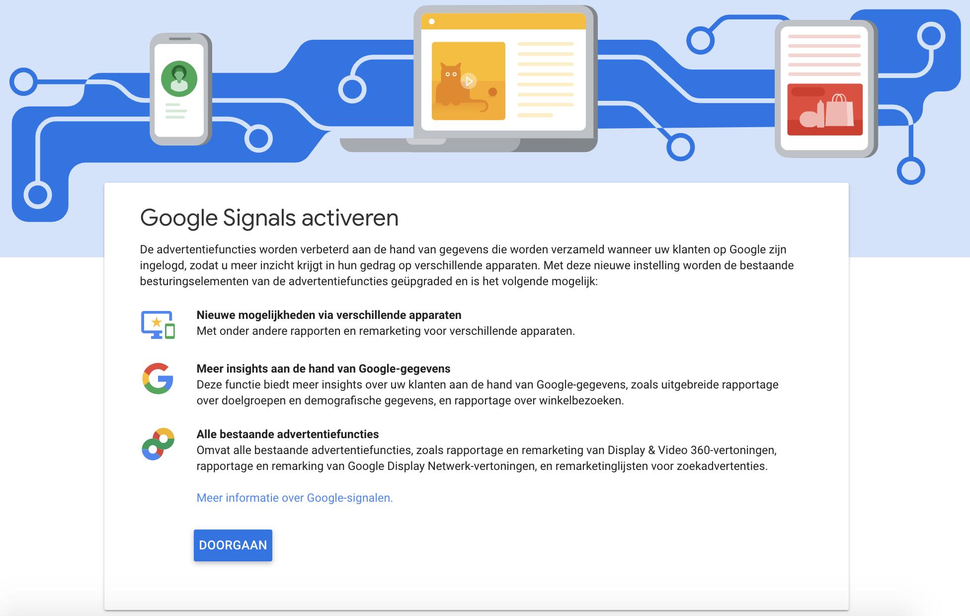Google Signals activeren