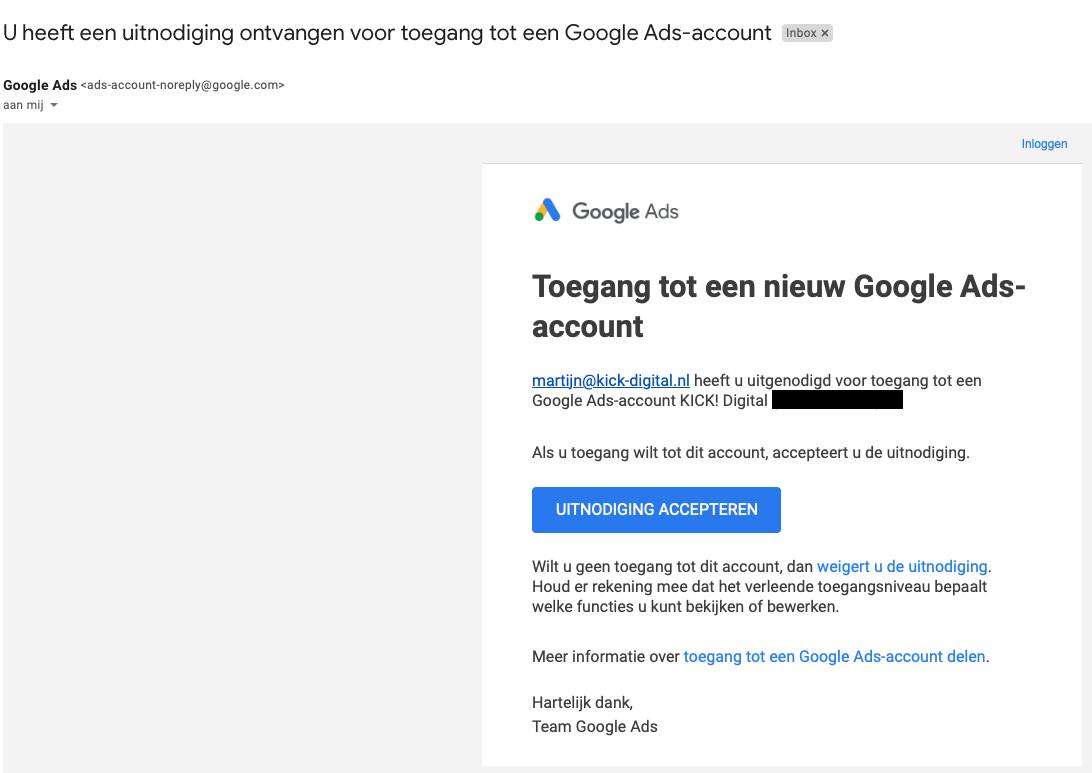 Uitnodiging accepteren voor Google Ads